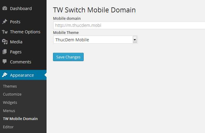 TW Switch Mobile Domain Plugin WordPress, Download, Install