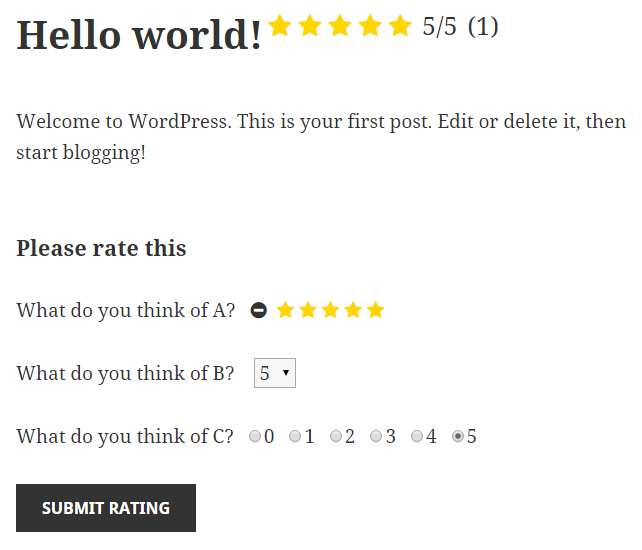 Multi Rating Plugin WordPress, Download, Install