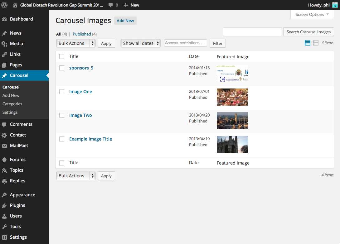 CPT Bootstrap Carousel Plugin WordPress, Download, Install