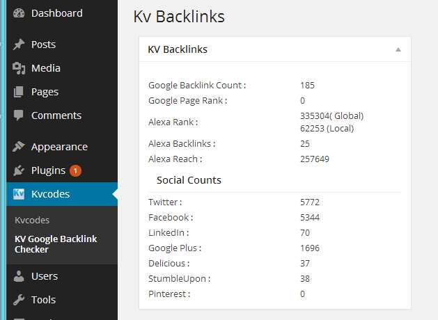 KV Google BackLink Checker Dashbaord Plugin WordPress, Download, Install
