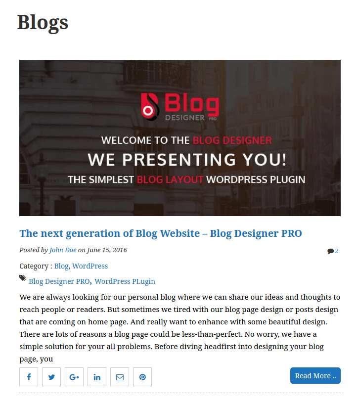 Blog Designer Plugin WordPress