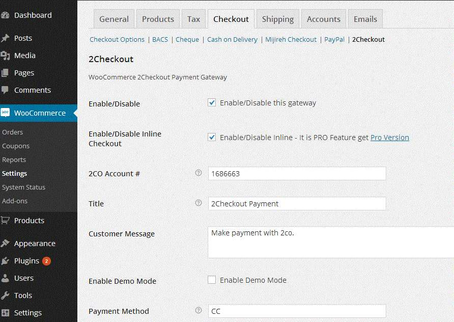 2Checkout Payment Gateway for WooCommerce Plugin WordPress, Download, Install