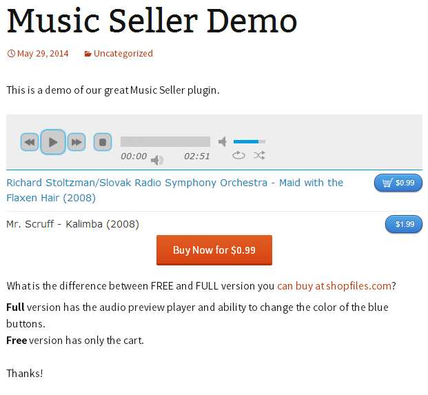 Music Seller Plugin WordPress, Download, Install