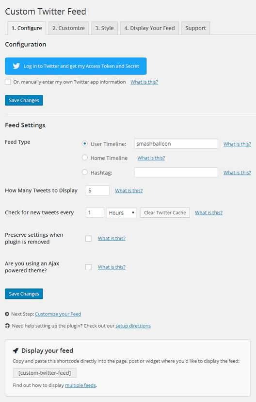 Custom Twitter Feeds Plugin WordPress