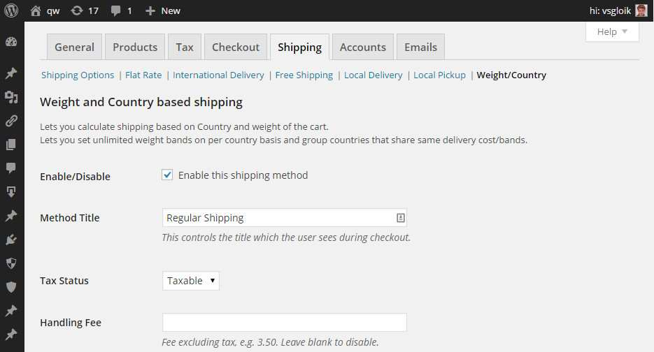 Weight/Country Shipping for WooCommerce Plugin WordPress, Download, Install