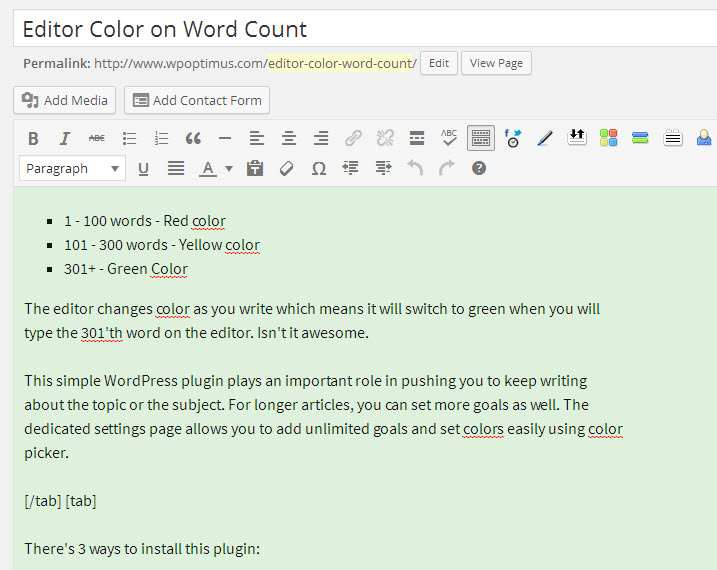 Editor Color on Word Count Plugin WordPress, Download, Install
