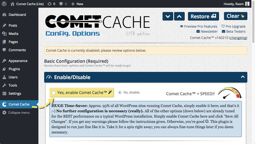 Comet Cache Plugin WordPress, Download, Install