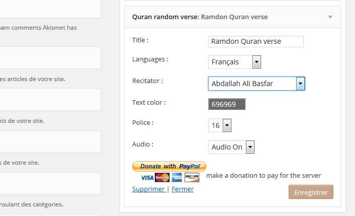 Holy Quran random verse Multilanguage Plugin WordPress