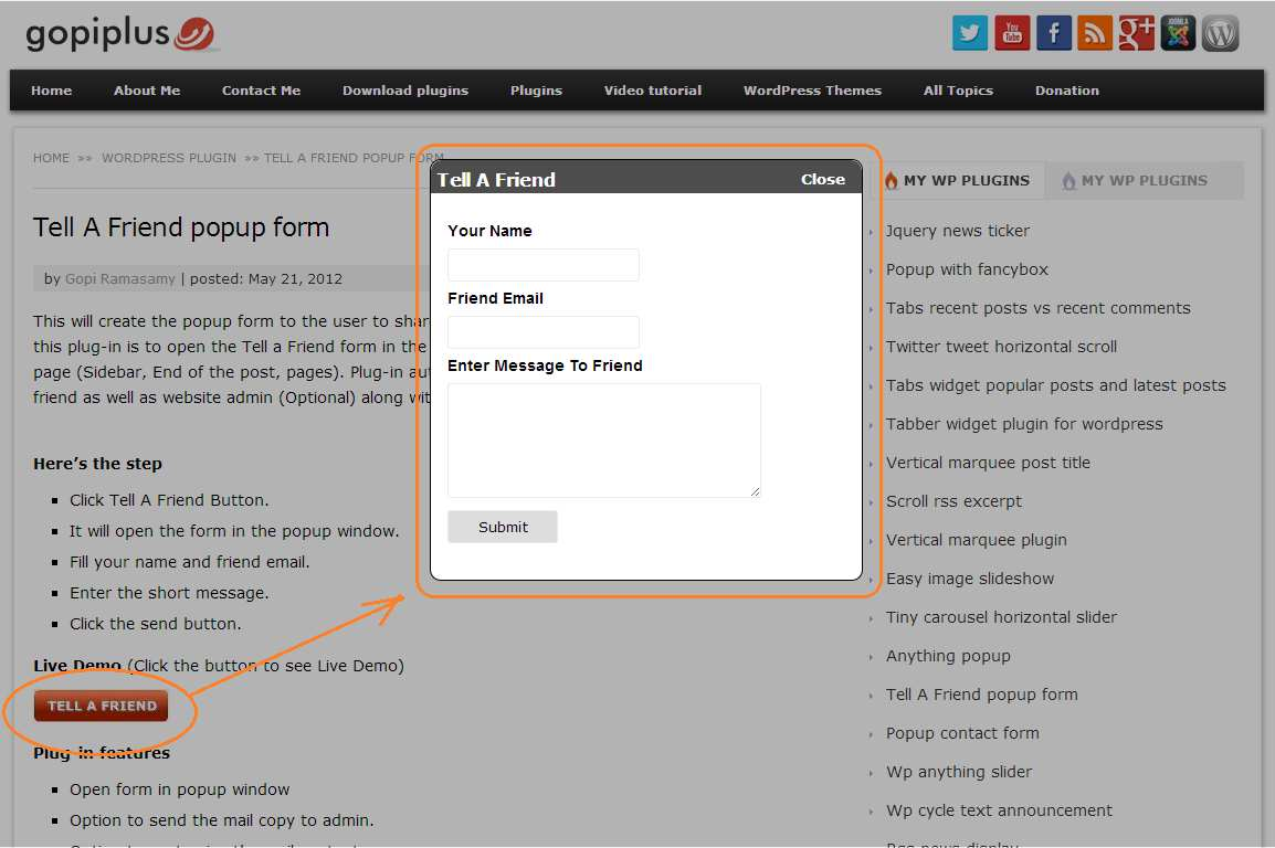 wp tell a friend popup form Plugin WordPress, Download, Install