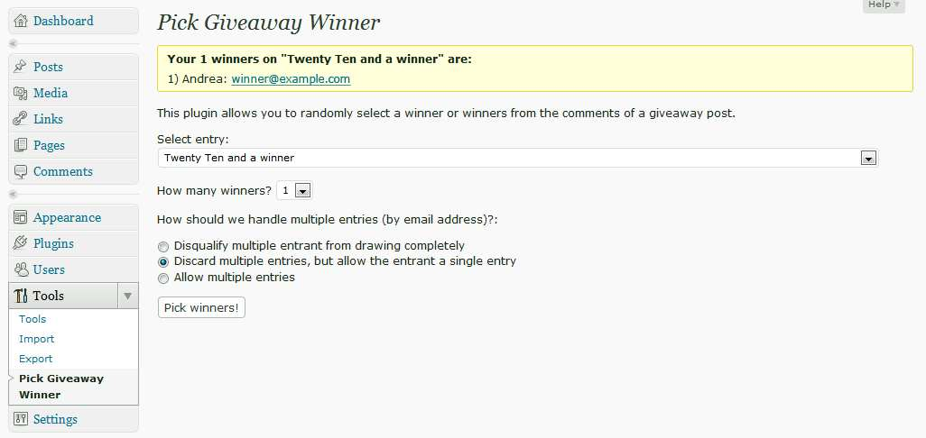 Pick Giveaway Winner Plugin WordPress, Download, Install