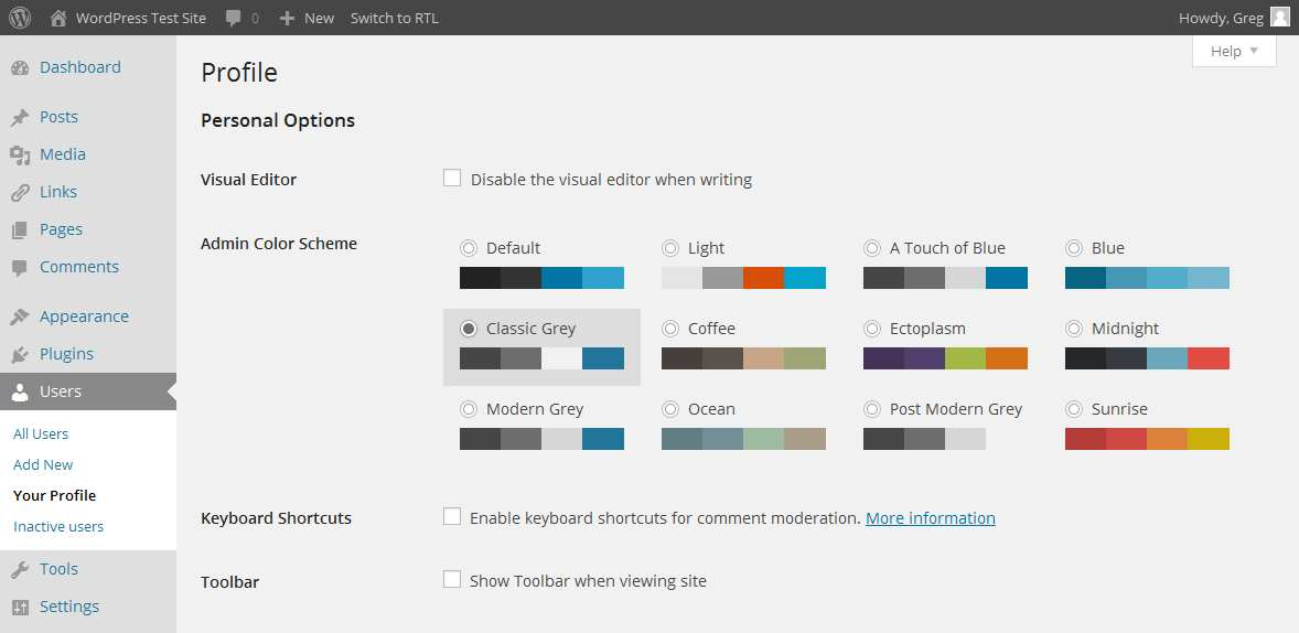 Grey Admin Color Schemes Plugin WordPress, Download, Install