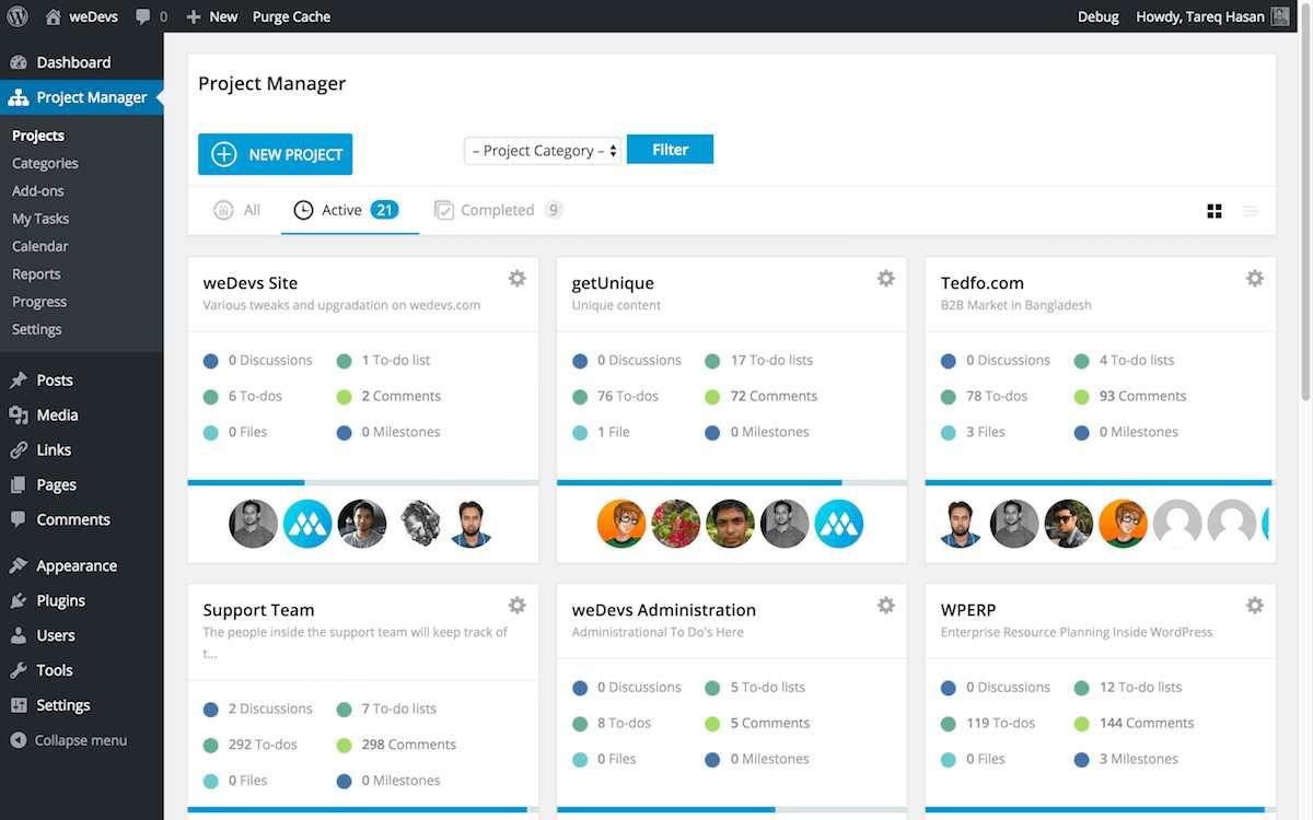 WP Project Manager Plugin WordPress
