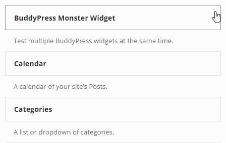 BuddyPress Monster Widget Plugin WordPress