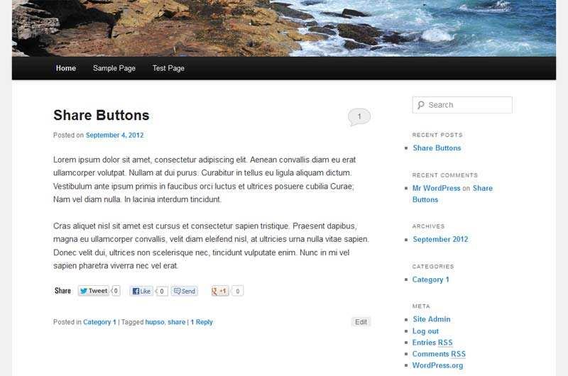 Hupso Share Buttons for Twitter, Facebook & Google+ Plugin WordPress
