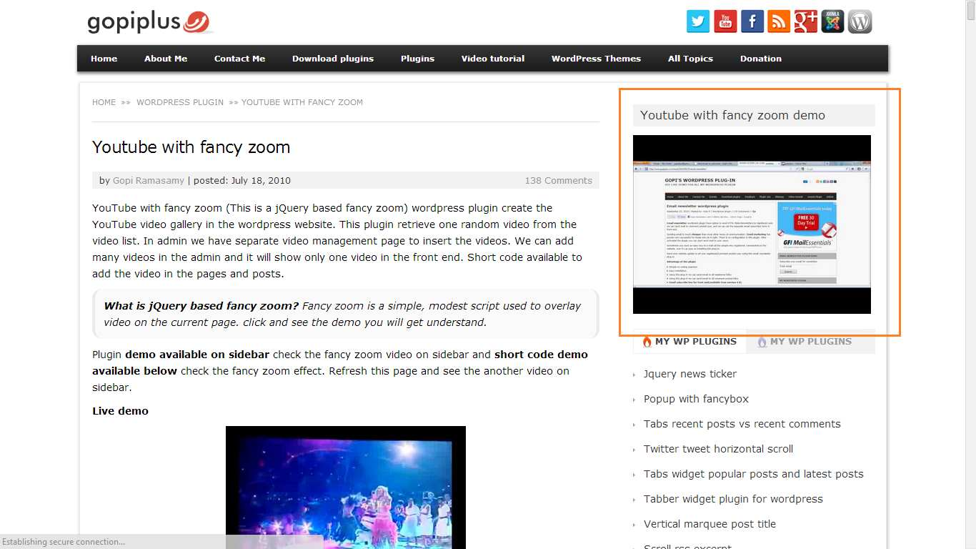 Youtube with fancy zoom Plugin WordPress, Download, Install