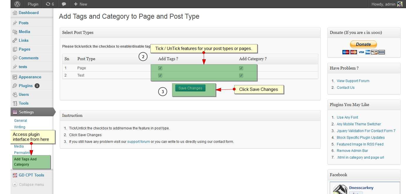 Add Tags And Category To Page and Post Types Plugin WordPress, Download, Install