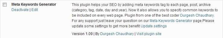 Meta Keywords Generator Plugin WordPress
