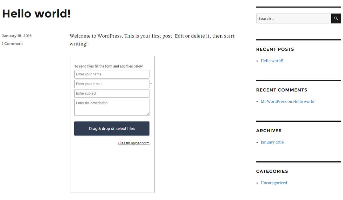Files.fm File Upload Form Plugin WordPress
