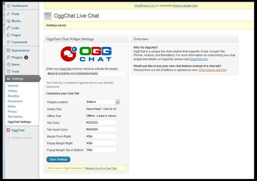 OggChat Live Chat Plugin WordPress