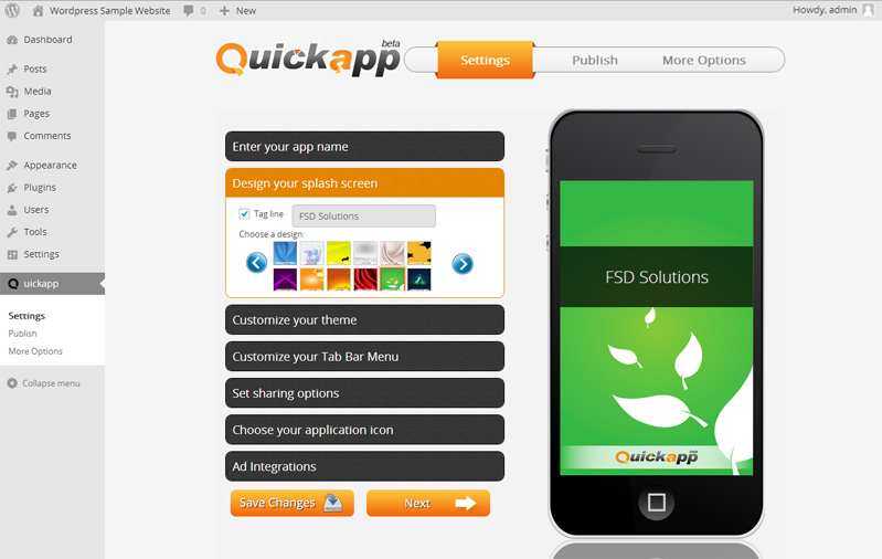 Quickapp – Mobile App for your WP Blog (Android & HTML5) Plugin WordPress
