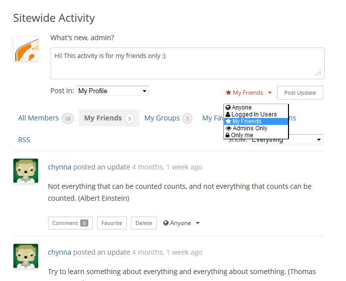 BuddyPress Activity Privacy Plugin WordPress