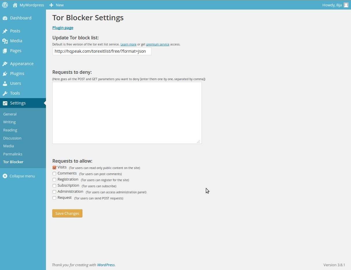 Tor Blocker Plugin WordPress, Download, Install