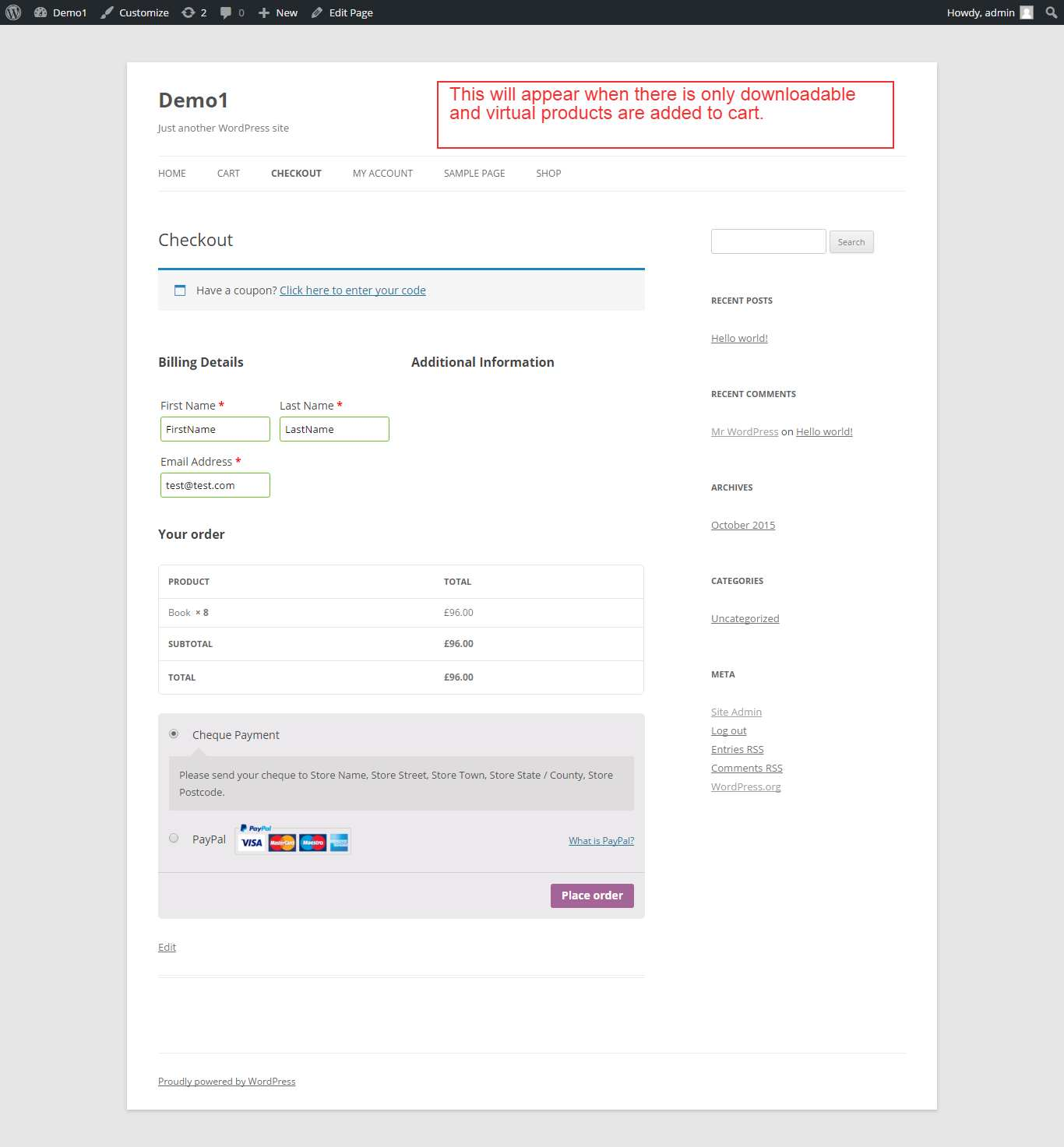 WooCommerce Checkout For Digital Goods Plugin WordPress