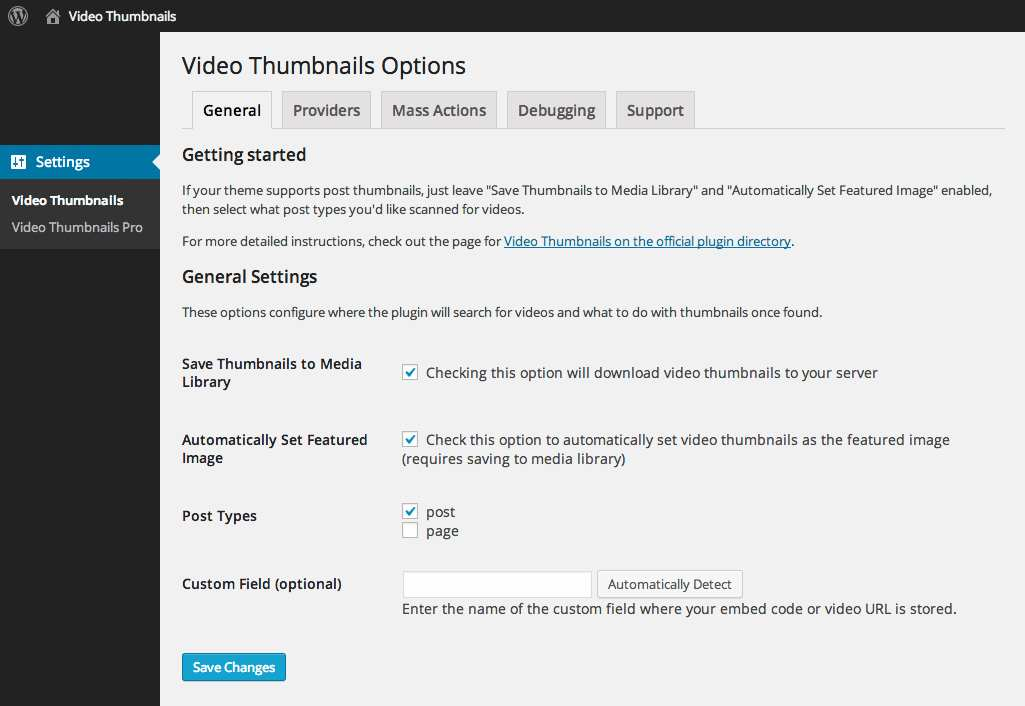Video Thumbnails Plugin WordPress