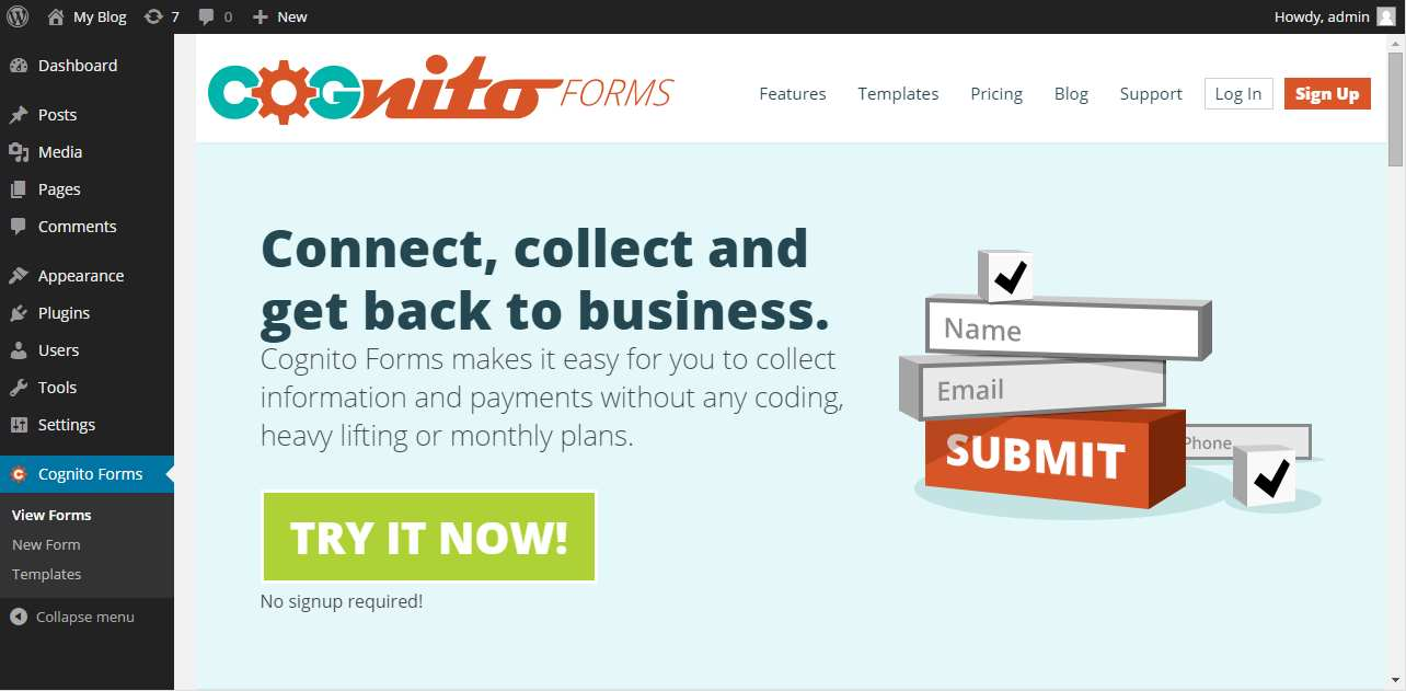 Cognito Forms Plugin WordPress, Download, Install