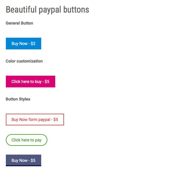 Beautiful Paypal Buttons Plugin WordPress