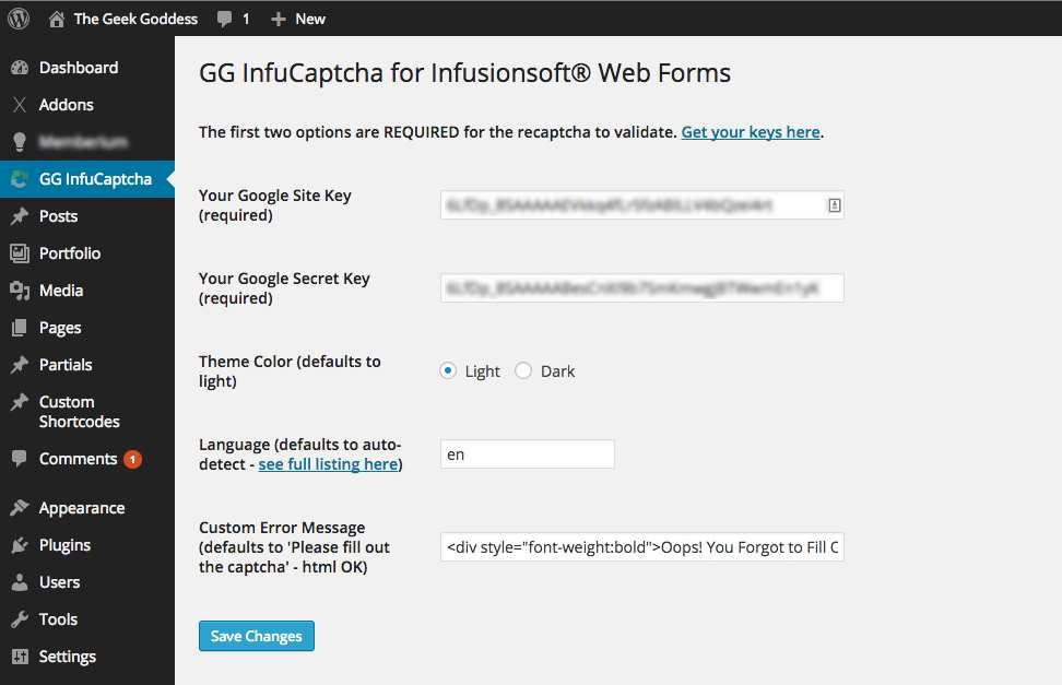 GG Infucaptcha reCaptcha for Infusionsoft Plugin WordPress, Download, Install