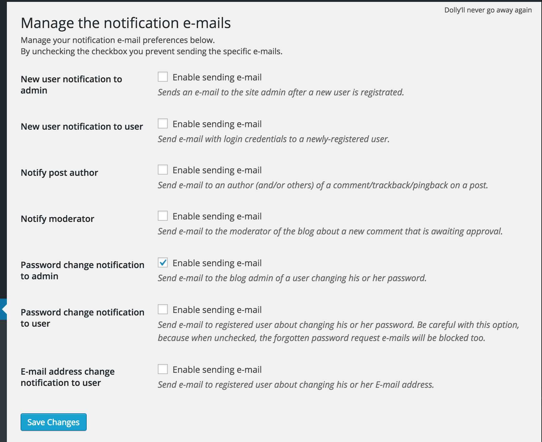 Manage Notification E-mails Plugin WordPress, Download, Install