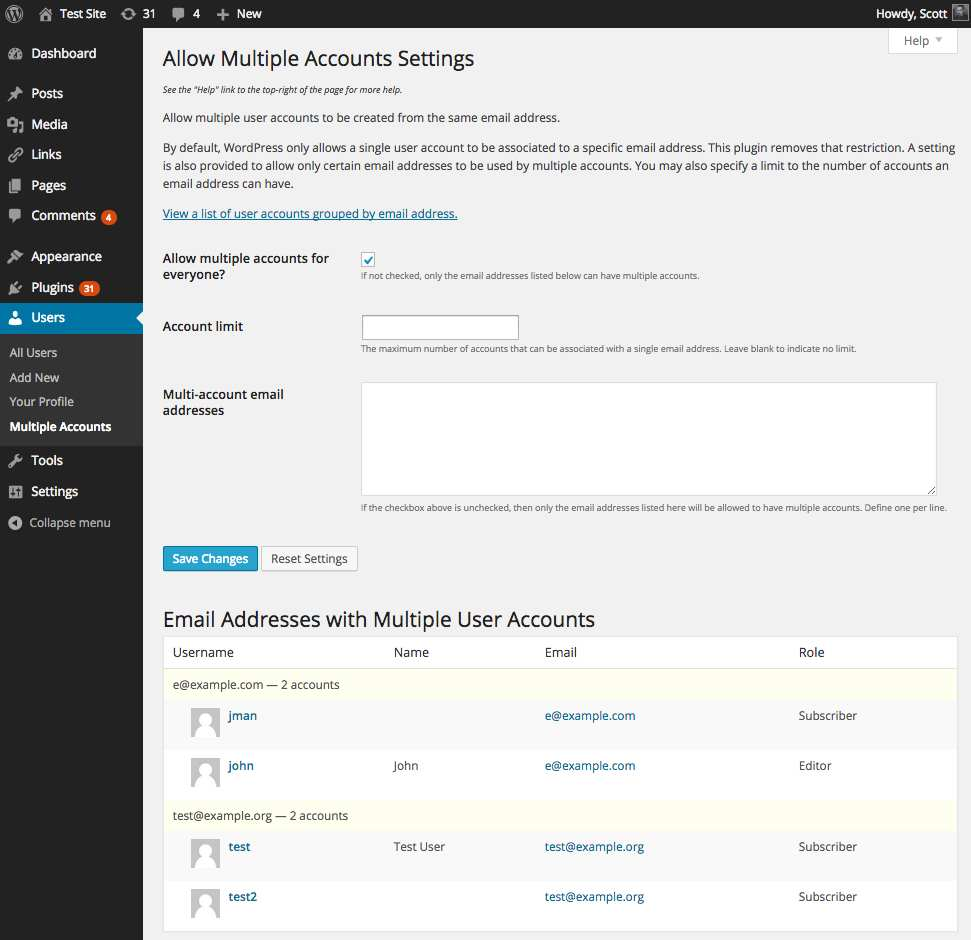 Allow Multiple Accounts Plugin WordPress, Download, Install