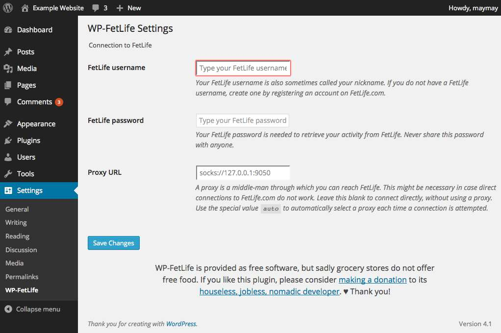 WP-FetLife Plugin WordPress