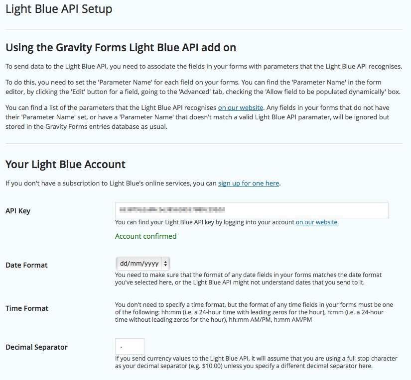 Gravity Forms Light Blue API Add-On Plugin WordPress, Download, Install