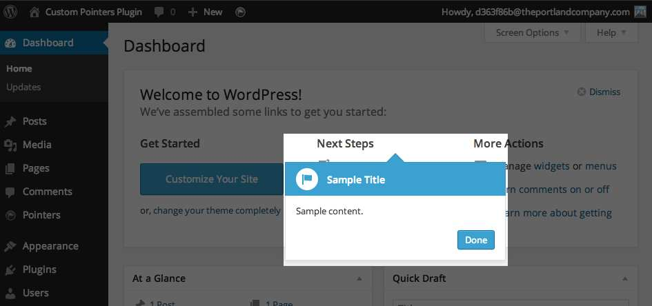 Custom Pointers Plugin WordPress, Download, Install