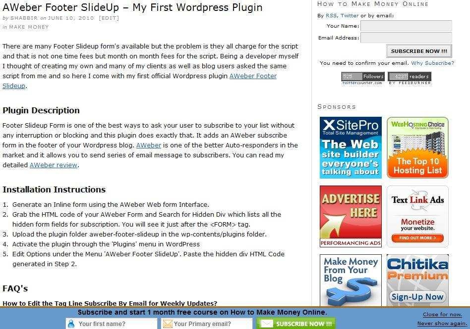 FeedBurner Footer SlideUp Plugin WordPress, Download, Install