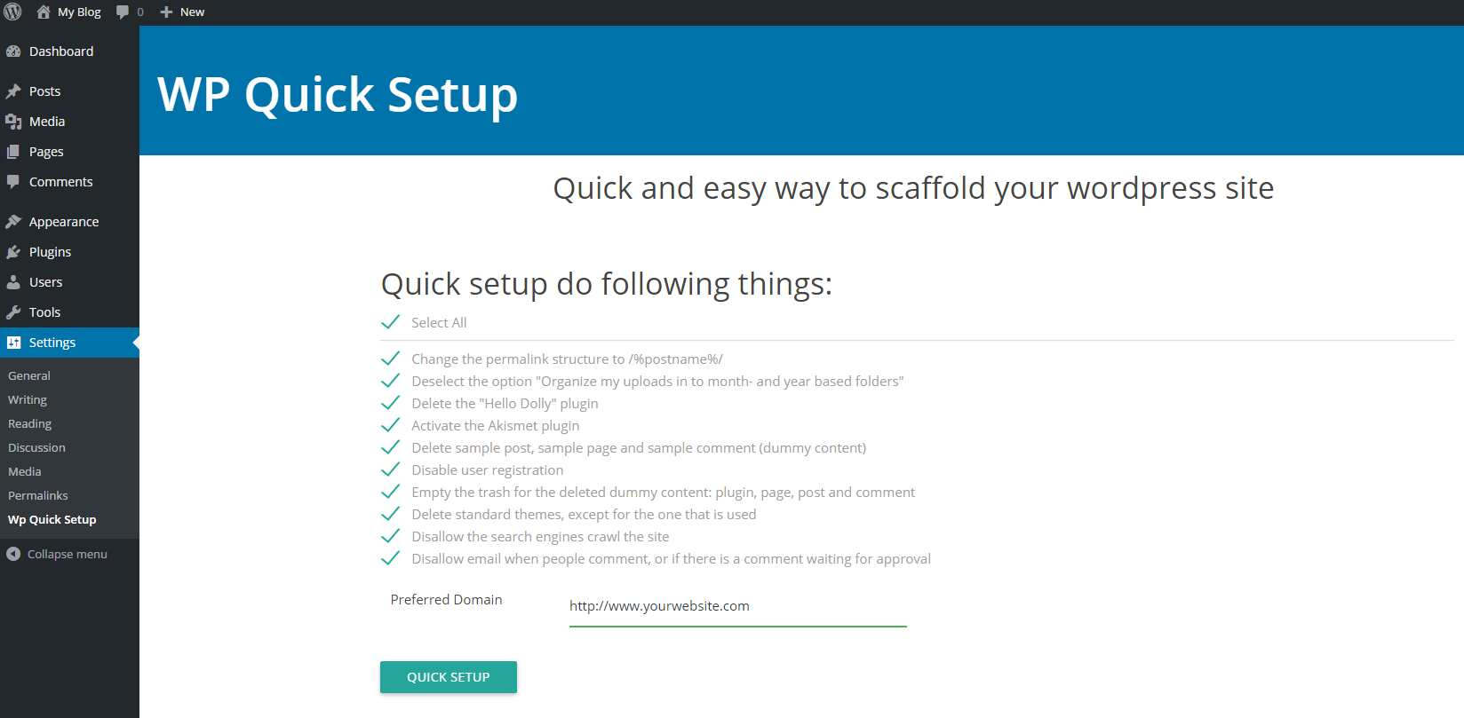 WP Quick Setup Plugin WordPress