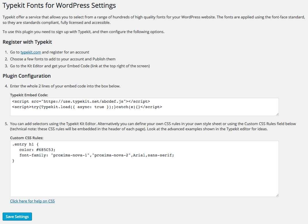 Typekit Fonts for WordPress Plugin WordPress