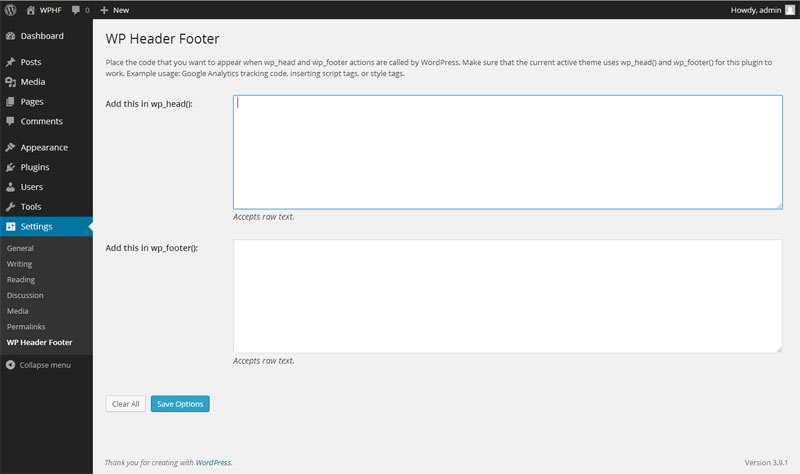 WP Header Footer Plugin WordPress