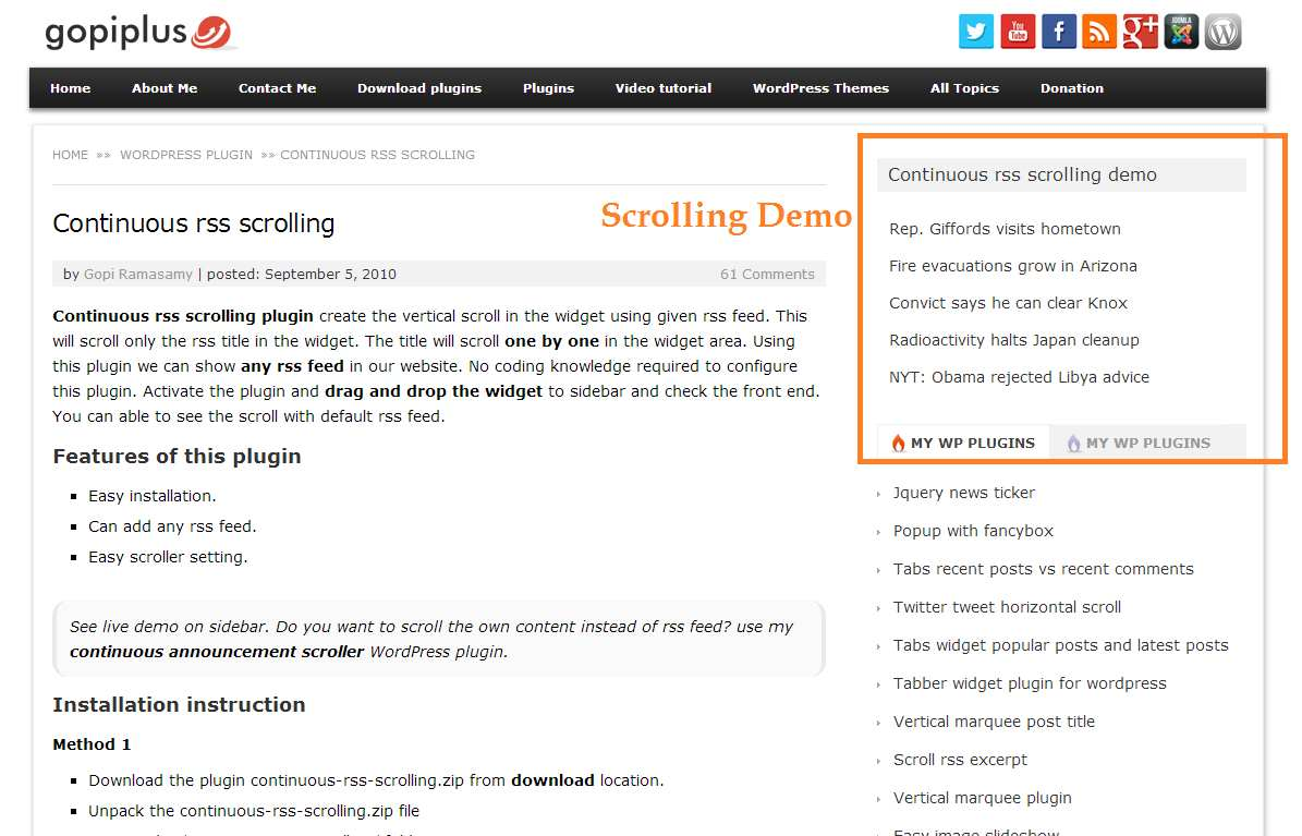 continuous rss scrolling Plugin WordPress