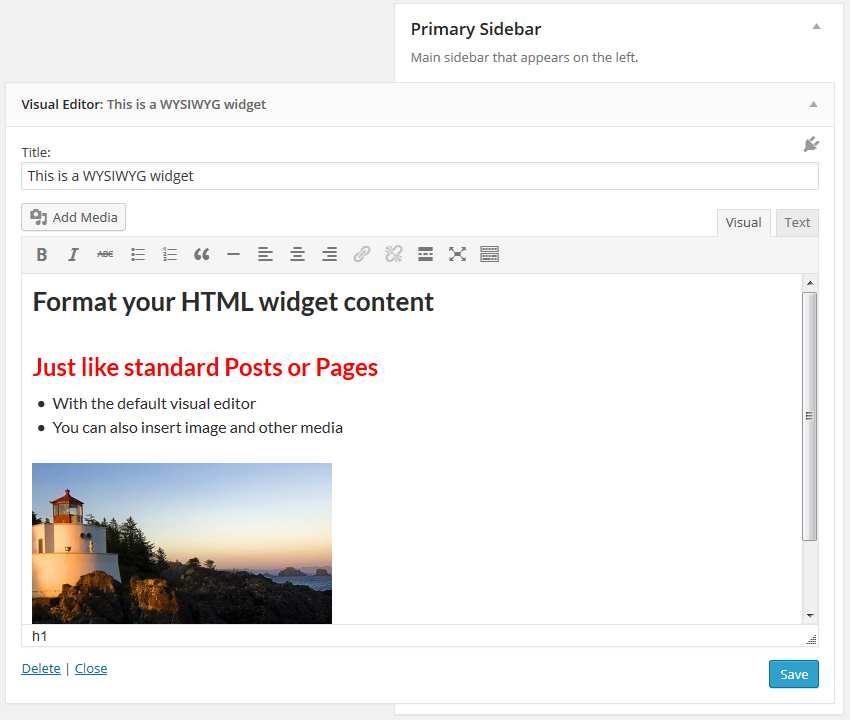 Black Studio TinyMCE Widget Plugin WordPress