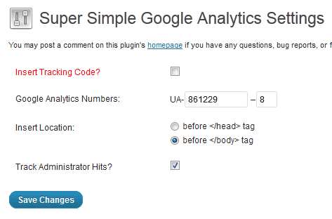 Super Simple Google Analytics Plugin WordPress