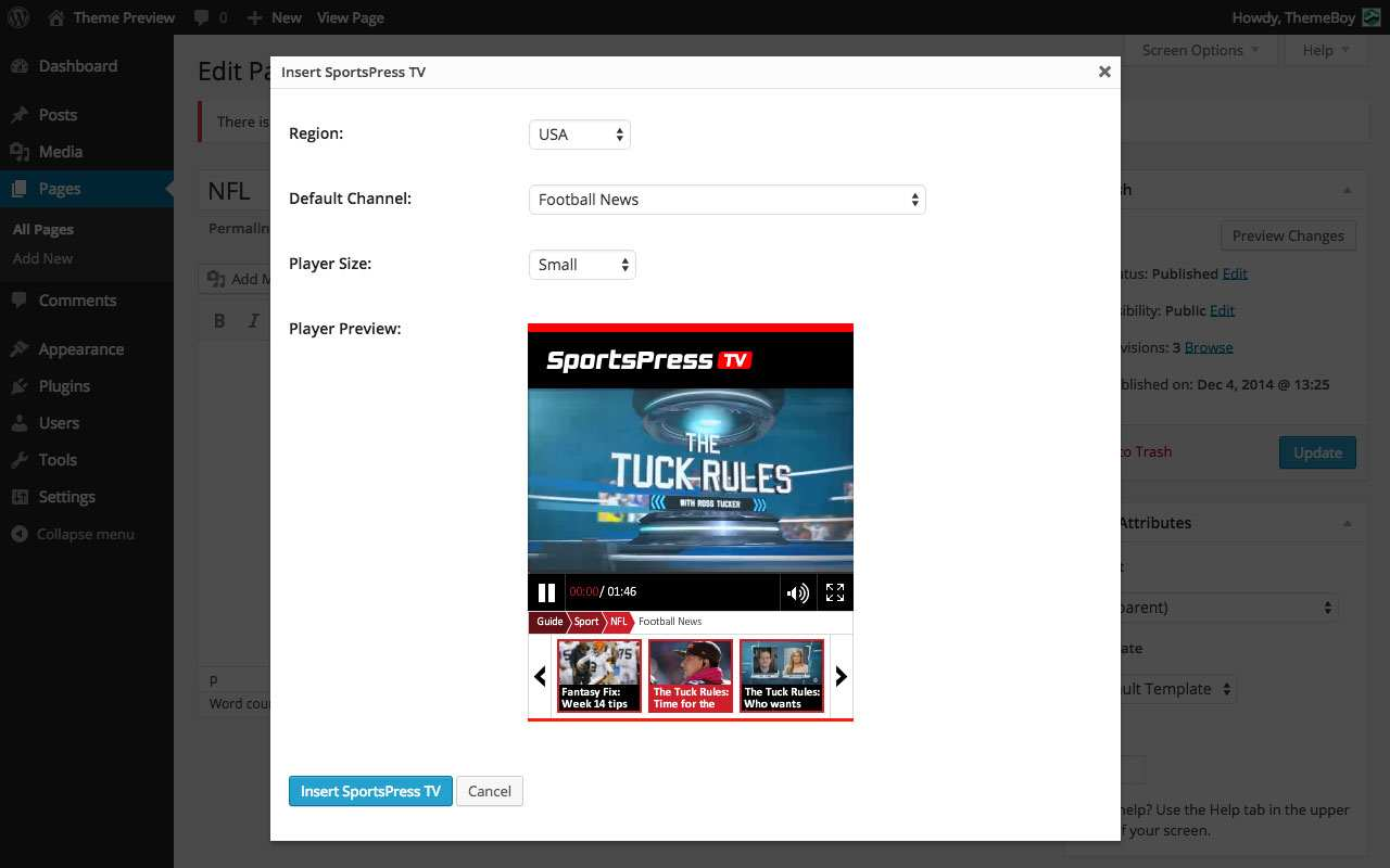 SportsPress TV – On Demand Sports Videos Plugin WordPress, Download, Install