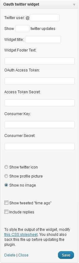 OAuth twitter sidebar widget Plugin WordPress, Download, Install