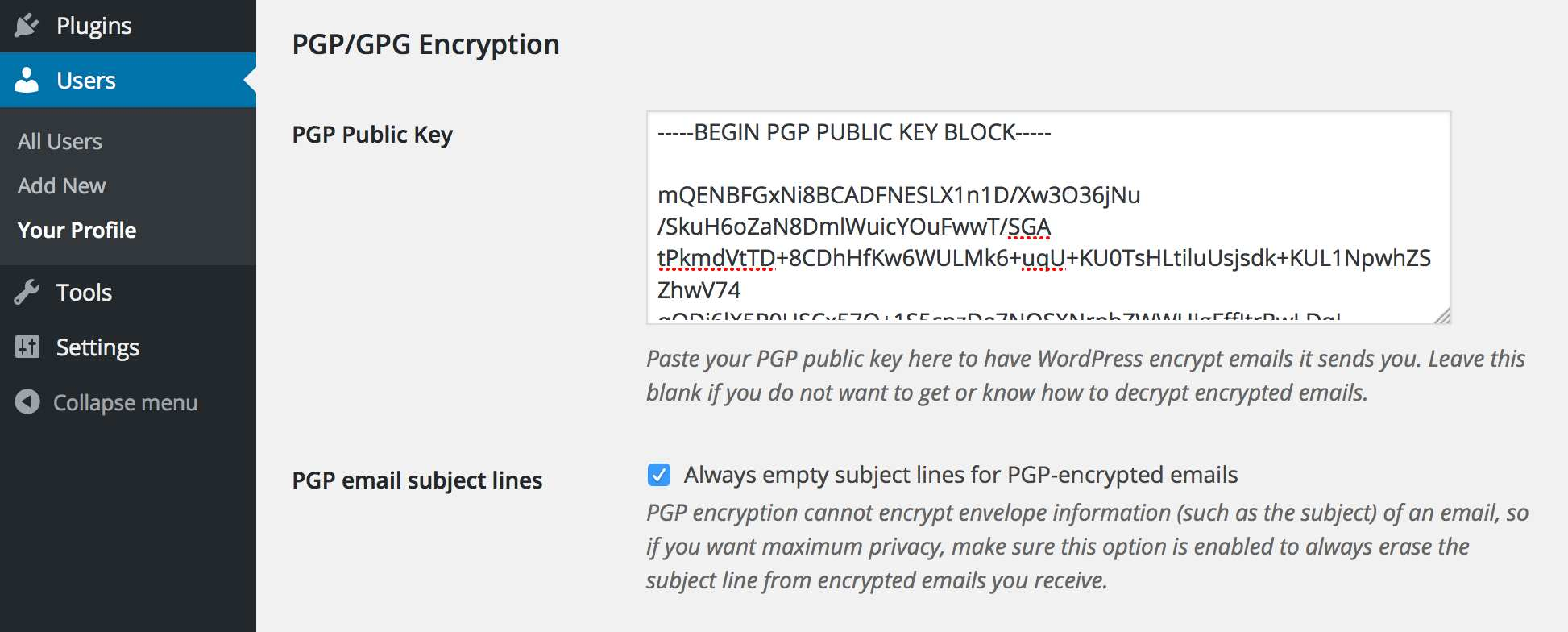 WP PGP Encrypted Emails Plugin WordPress