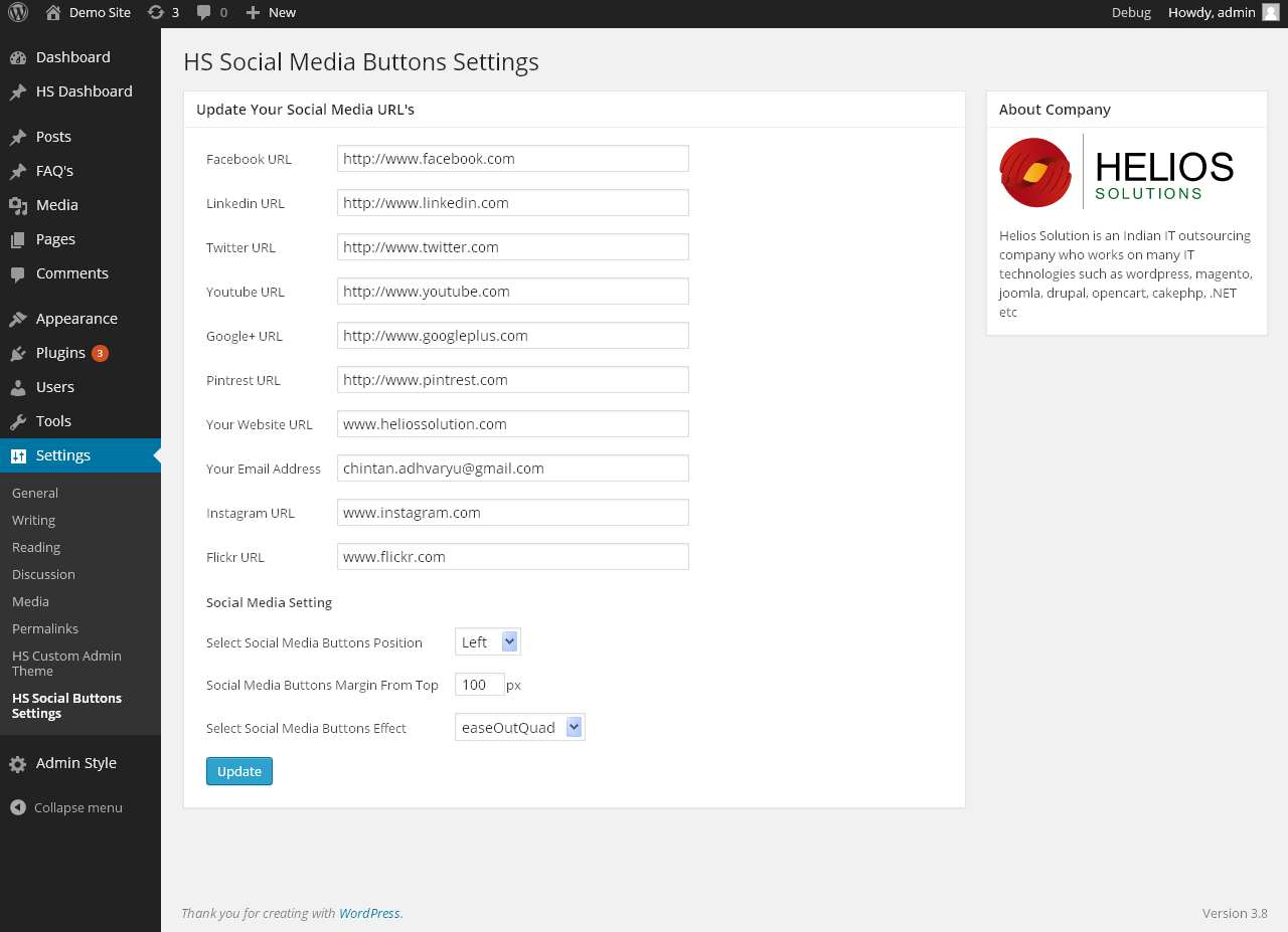 Helios Solutions Social Media Buttons Plugin WordPress, Download, Install