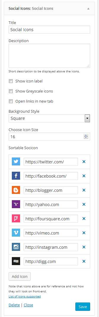Social Icons Plugin WordPress, Download, Install