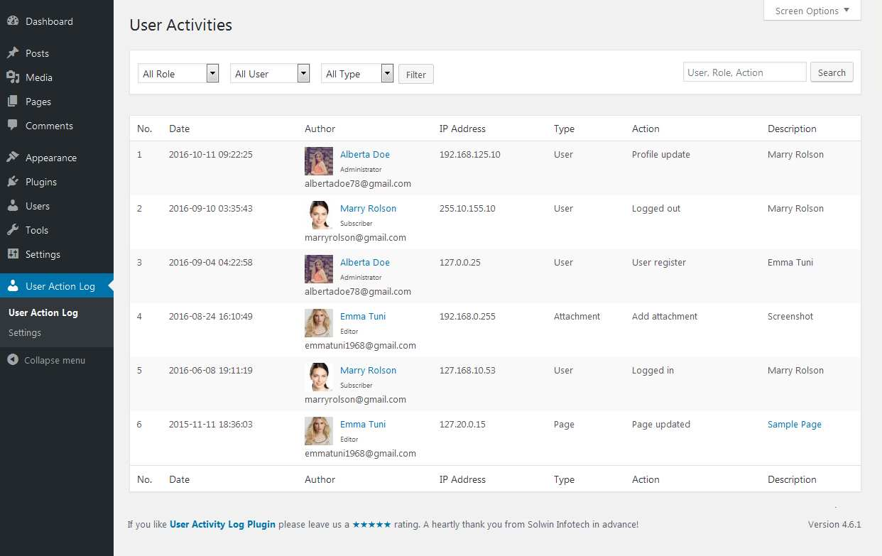 User Activity Log Plugin WordPress, Download, Install