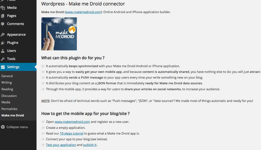 Make me Droid Mobile App Connector Plugin WordPress, Download, Install